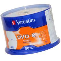 Verbatim DVD-R 16x nyomtatható lemez, cake (50) NO ID
