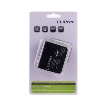 CLIPTEC univerzális utazó töltő USB PORT  GZJ170