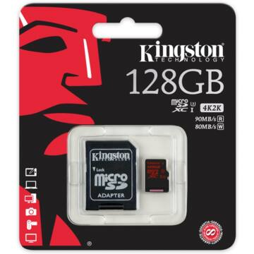 128GB MICROSDXC KINGSTON UHS-I CLASS U3 + SD ADAPTER