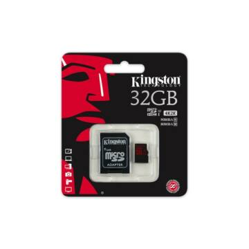 32GB MICROSDHC KINGSTON U3 90R/80W + ADAPTER