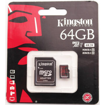 64GB MICROSDXC KINGSTON U3 90R/80W + ADAPTER