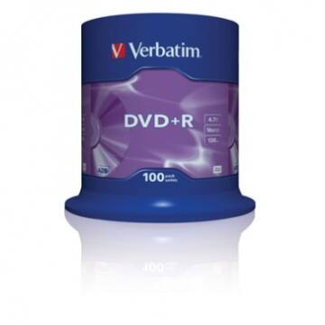 Verbatim DVD+R 16x lemez, cake (100)