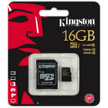 Memóriakártya 16GB Micro SDHC Kingston gold UHS-I class 10 R90, W45 + adapter