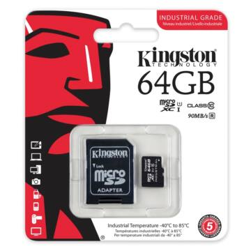 64GB MICROSDXC KINGSTON UHS-I INDUSTRIAL TEMP + SD ADAPTER