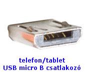 USB micro B csatlakozó mobiltelefonokhoz, tabletekhez